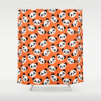 pandas Shower Curtains featuring Happy Pandas by Sara Showalter