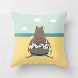 Sunbathing Hippo Throw Pillow