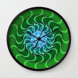 Waves of Green Mandala Wall Clock