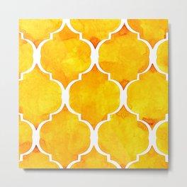 Golden quatrefoil pattern in watercolor Metal Print
