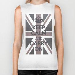 Keep Calm and Carry On UK - Purple/Grey Biker Tank