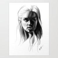 daenerys Art Prints featuring Daenerys Targaryen by Taylor Barron