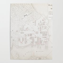 Vintage Map of New Bern NC (1769) Poster