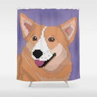 corgi Shower Curtains featuring Corgi by Raewyn Haughton