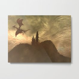 Flying above the castle from left Metal Print