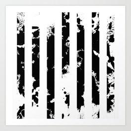 Splatter Bars - Black ink, black paint splats in a stripey stripy pattern Art Print