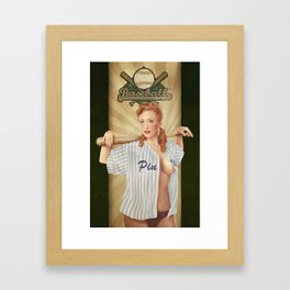 VINTAGE GIRLS - Baseball Framed Art Print