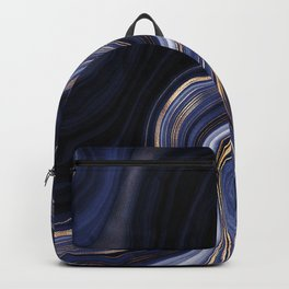 Dark Indigo & Gold Agate Backpack