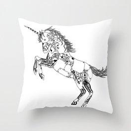 Steampunk Robot Unicorn Throw Pillow