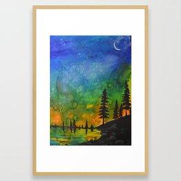 Northern Lights (moon right side) Framed Art Print