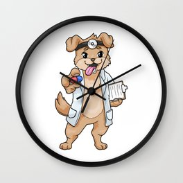 Dog as doctor with pills and notepad Wall Clock