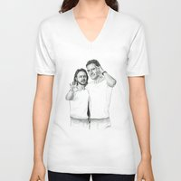 x men V-neck T-shirts featuring X Men  by Cécile Pellerin