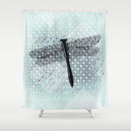 Big Teal Dragonfly and Asymmetrical Lattice Shower Curtain