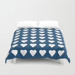 64 Hearts Navy Duvet Cover