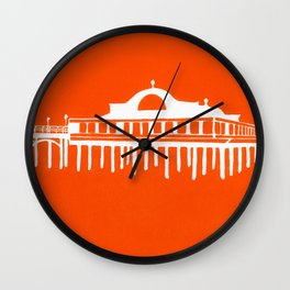 Seaside Pier in Orange Wall Clock
