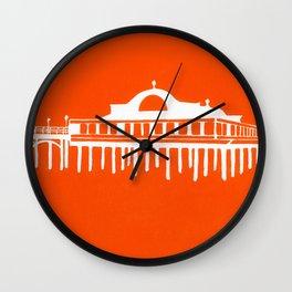 Seaside Pier in Orange Wall Clock