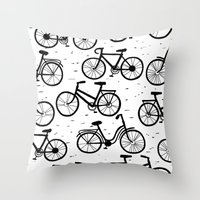 bikes Throw Pillows featuring Bikes by sarknoem