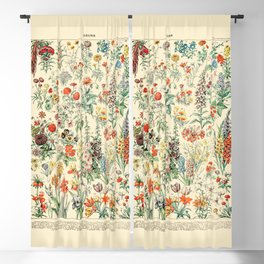 Wildflower Diagram // Fleurs II by Adolphe Millot 19th Century Science Textbook Artwork Blackout Curtain