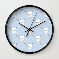 drum Wall Clocks featuring Drum  by Little Owl Oddities