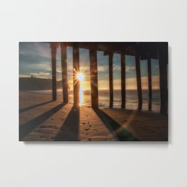 Through the Blinds sun bursts through Avila Pier Avila Beach California Metal Print