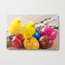 Easter eggss and fluffy chickens Metal Print