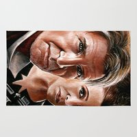 han solo Area & Throw Rugs featuring Han Solo and Princess Leia  by Manuela Mishkova
