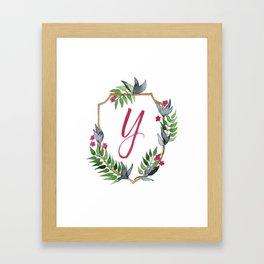 Jungle Gold Monogram Crest Y Framed Art Print