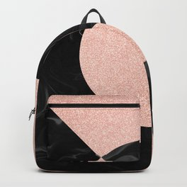 Rose Glitter and Black Marble Backpack