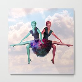 Space Skirt Girls in the Clouds Metal Print