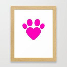 Cute Heart Paw Kawaii Print design Funny Love Gift Framed Art Print