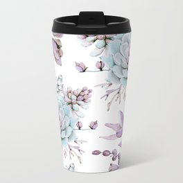 Turquoise and Violet Succulents Metal Travel Mug