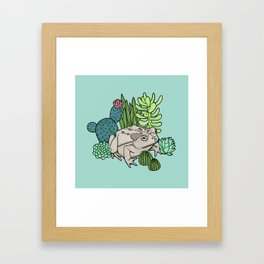 Toad with Succulents - Turquoise Framed Art Print