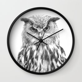 Black and white owl animal portrait Wall Clock
