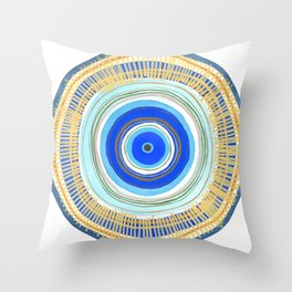 Turquoise Evil Eye Mandala Throw Pillow