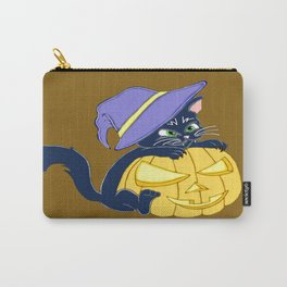 Mischievous Black Cat and Pumpkin Carry-All Pouch