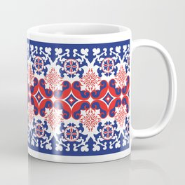 Asian red and blue pattern Coffee Mug