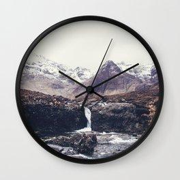 Stormy Fairy Pools Wall Clock