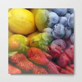 Lemons, Blueberries, & Strawberries Collage Metal Print