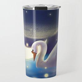 Beautiful Fly Swan And Girl Travel Mug