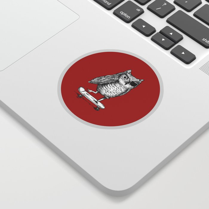 Ride On Owl_red Sticker