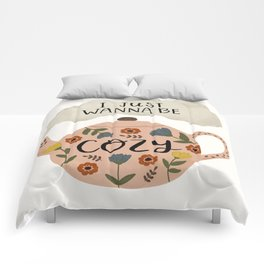 'I Just Wanna Be Cozy' Floral Teapot Comforters
