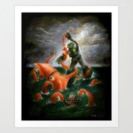 Sea Battle Masterpiece Robot vs Squid  Art Print