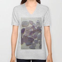 Genuine Purple Sea Glass Collection Unisex V-Neck
