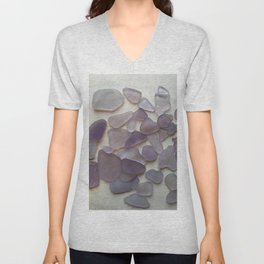 Genuine Purple Sea Glass Collection Unisex V-Neck