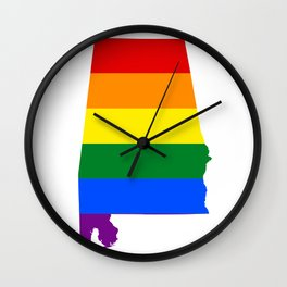 LGBT Alabama (Gay Pride Flag) Wall Clock