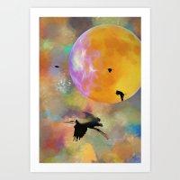 Heron Moon Art Print