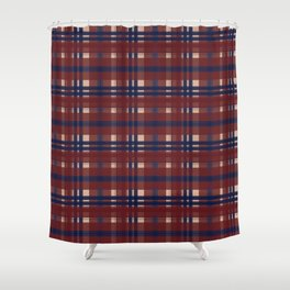 Plaid Navy Red And Tan Shower Curtain