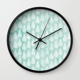 Big Drops Blush Blue Wall Clock