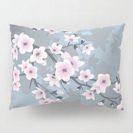 Dusky Pink Grayish Blue Cherry Blossom Pillow Sham