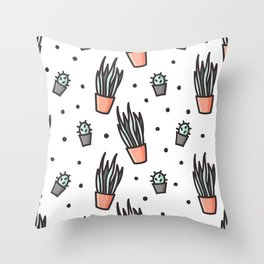 Sansevieria and cactus doodles Throw Pillow